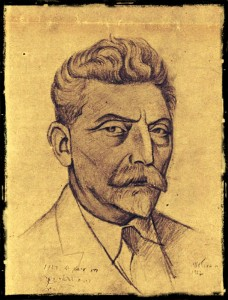 "zhitlovsky sketch pixlr Sketch of Zhitlovsky by H. Ber Levi, as published in the Warsaw weekly magazine ""Literarishe Bleter"" in 1927."